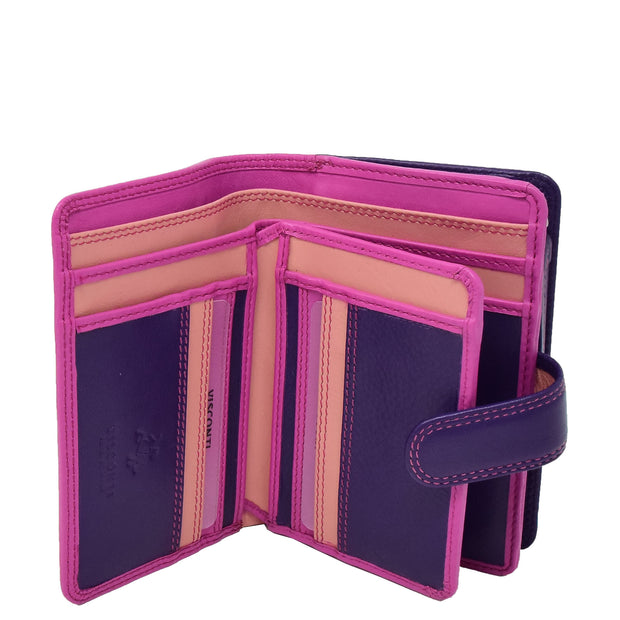 Womens Leather Booklet Evening Clutch Purse Multi Colour Wallet AVB51 Berry Open 2