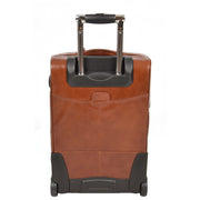 Real Leather Suitcase Cabin Trolley Hand Luggage A0518 Chestnut Back