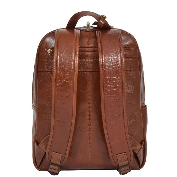 Womens Backpack Chestnut Real Leather Large Travel Rucksack Cora Back