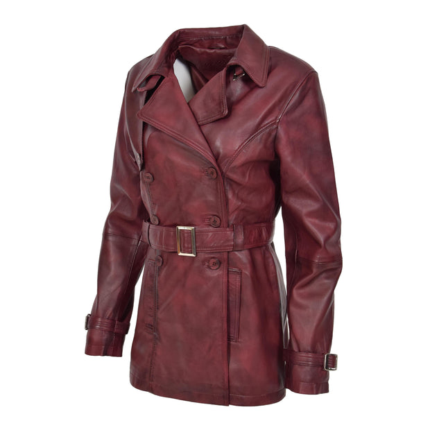 Womens Soft Leather Trench Coat Olivia Burgundy Front 3