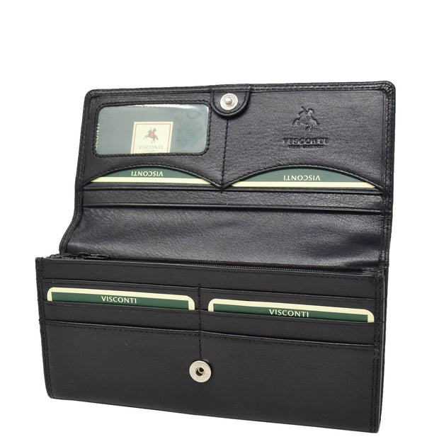 Womens Soft Leather Clutch Purse Envelope Style Wallet AVT3 Black open 1