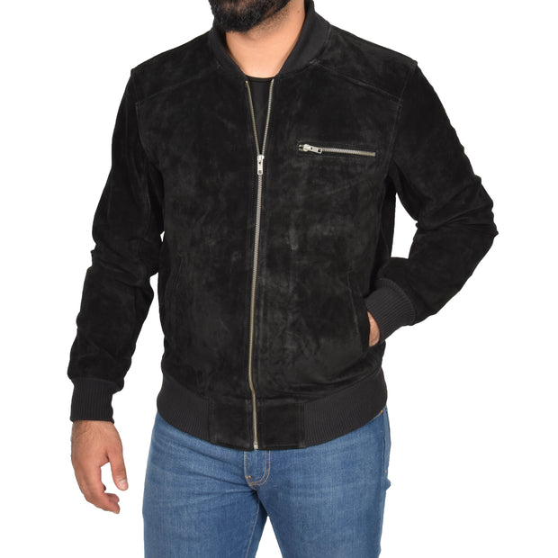Mens Genuine Suede Bomber Jacket Roco Black zip up view