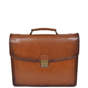 Mens Briefcase Italian Leather Soft Slim Satchel Business Bag Boris Tan Front