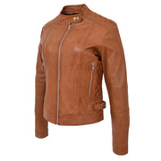 Womens Soft Tan Leather Biker Jacket Designer Stylish Fitted Quilted Celeste Front Angle