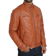 Gents Fitted Biker Leather Jacket Django Cognac