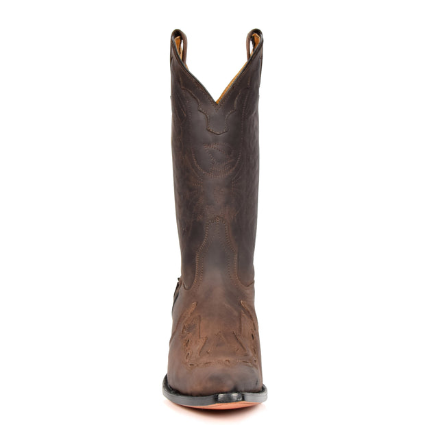 Real Leather Pointed Toe Cowboy Boots AZ350 Brown Front