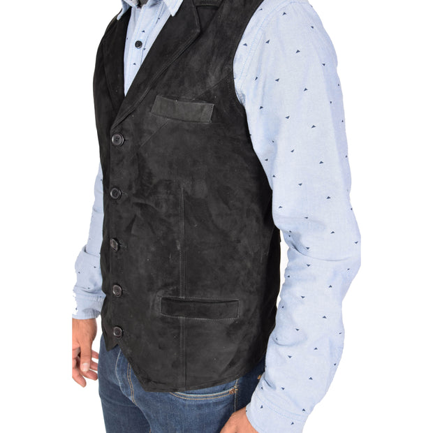 Mens Real Suede Leather Waistcoat Classic Vest Yelek Status Black Feature