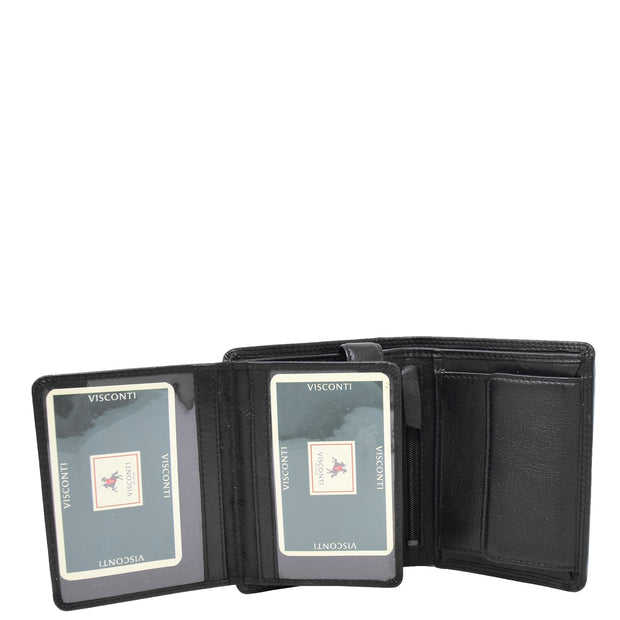 Mens Soft Durable Leather Wallet Cards Coins Notes ID Holder AV111 Black Open 2