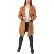 Womens 3/4 Button Fasten Leather Coat Cynthia Tan Full 2