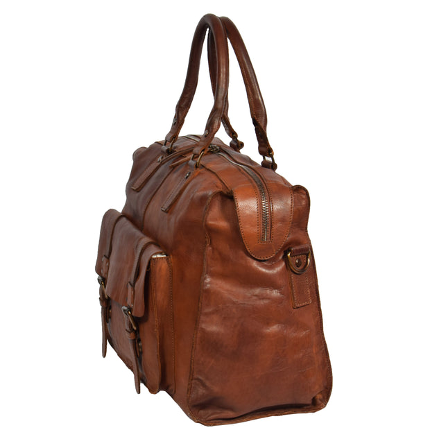 Real Leather Holdall Weekend Cabin Bag Bali Rust Side
