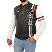 Mens Biker Leather Jacket Black White Sleeves Badges Stripes Sports Style Gears