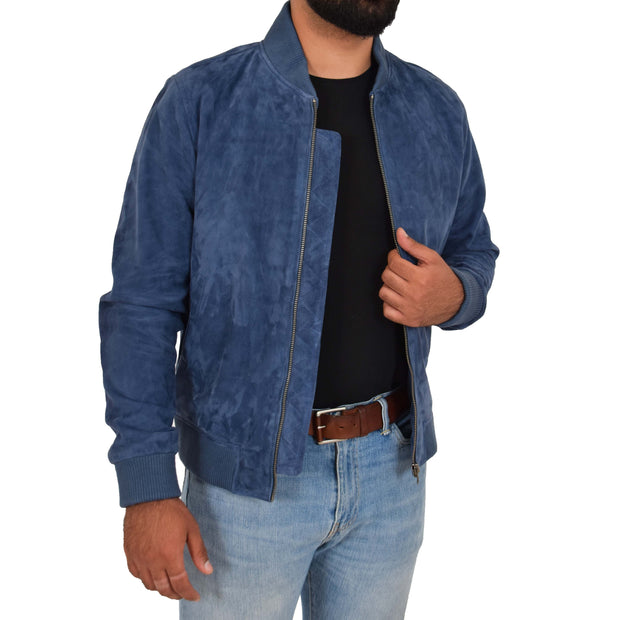 Mens Soft Goat Suede Bomber Varsity Baseball Jacket Blur Blue Open 4