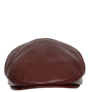 Genuine Burgundy Leather Flat Cap English Granddad Baker-boy Hat Arthur Front