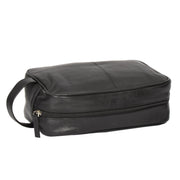 Wash Leather Bag Travel Toiletry Shaving Kit Wrist Bag A98 Black Top