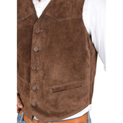 Mens Real Suede Leather Waistcoat Classic Vest Gilet Cole Brown Feature