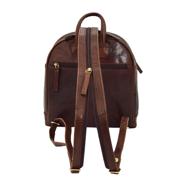 Womens Backpack Brown LEATHER Rucksack Organiser Bag Harper Back