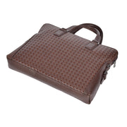 Unisex Slimline Brown Leather Briefcase Cross Work Satchel Shoulder Bag Benin Back Letdown