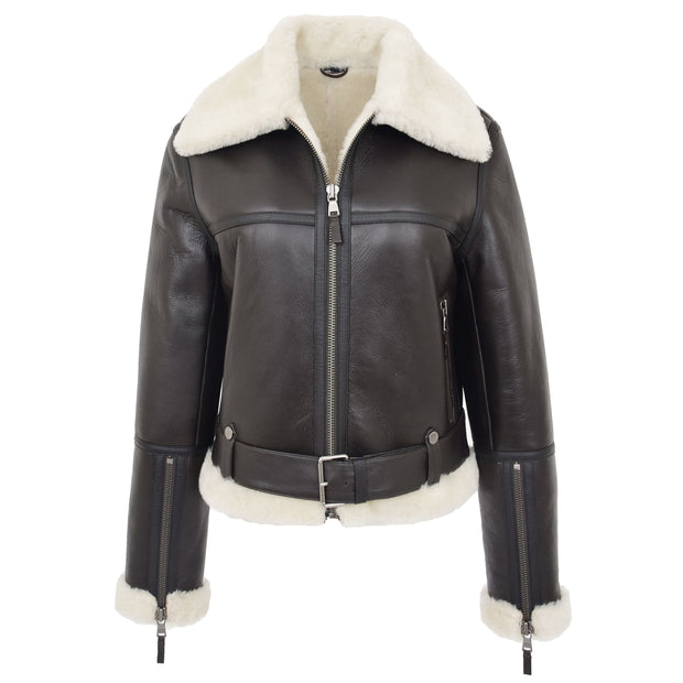 Womens Luxurious Brown Genuine Sheepskin Flying Jacket White Shearling Harriet