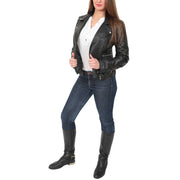 Womens Fitted Trendy Biker Leather Jacket Beyonce Black full