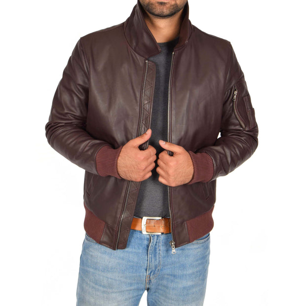 Mens Real Cowhide Bomber Leather Pilot Jacket Lance Burgundy Front 1