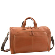Genuine Leather Holdall Weekend Gym Business Travel Duffle Bag Ohio Tan Front 2