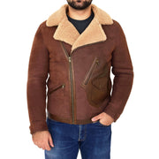 Mens Real Sheepskin Jacket Antique Flying Shearling B3 Coat Rocky Brown