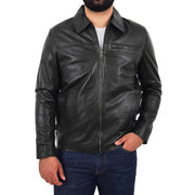 Mens Leather Jacket Genuine Soft Black Zip Fasten Box Style Sean Front 1