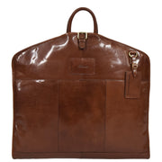 Luxury Leather Suit Carrier Bag Dress Garment Cover Finley Chestnut open