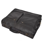 Genuine Luxury Leather Suit Garment Dress Carriers A112 Black Front Letdown