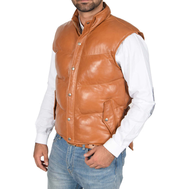 Mens Quilted Leather Waistcoat Body Warmer Gilet Jeff Tan