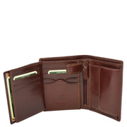 Gents Real Leather Bifold Large Wallet Cards Notes Coins Purse AVZ3 Brown Open 3