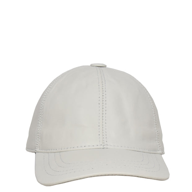 Genuine Leather Baseball Cap Sports Casual Viper White Front