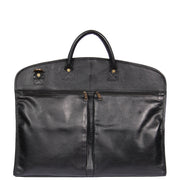 Genuine Soft Leather Suit Carrier Dress Garment Bag A173 Black Back