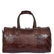 Brown Luxury Leather Holdall Travel Duffle Weekend Cabin Bag Targa Back