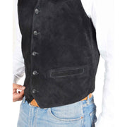 Mens Real Suede Leather Waistcoat Classic Vest Gilet Cole Black Feature