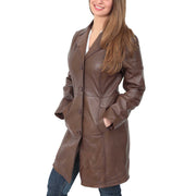 Womens 3/4 Button Fasten Leather Coat Cynthia Brown Front