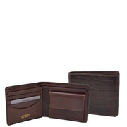 Mens Brown Real Leather Croc Print RFID Wallet AV92