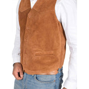 Mens Real Suede Leather Waistcoat Classic Vest Gilet Cole Tan Feature