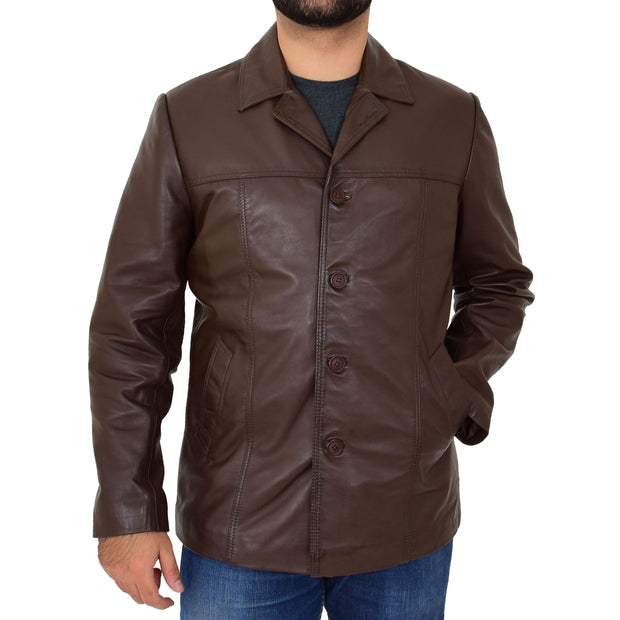 Mens Casual Leather Jacket Hip Length Brown Reefer Blazer Coat Harold Front 1