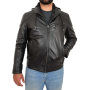 Mens Real Black Leather Hooded Jacket Sports Fitted Biker Style Coat Barry