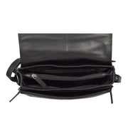 Ladies BLACK Leather Shoulder Bag Flap Over Handbag A190 Top Open