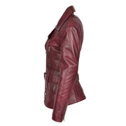 Womens Biker Leather Jacket Slim Fit Cut Hip Length Coat Coco Burgundy Side 2