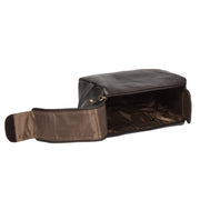Genuine Soft Leather BROWN Travel Wash Bag A179 Open