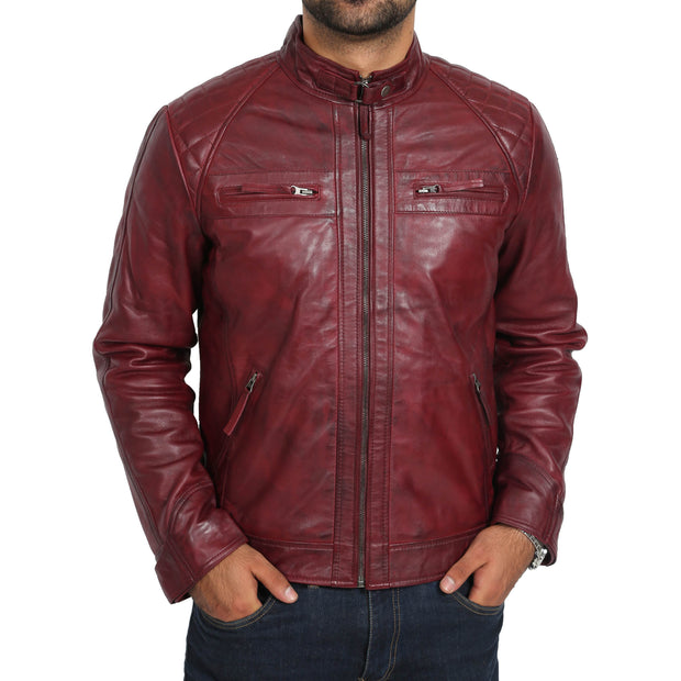 Gents Fitted Biker Leather Jacket Django Burgundy Front