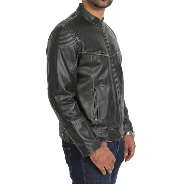 Mens Biker Style Leather Jacket Vintage Rub Off Effect Matt Brown side view
