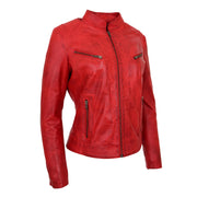 Womens Fitted Leather Biker Jacket Casual Zip Up Coat Jenny Red Front Angle 1