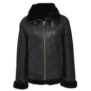 Womens Real Black Sheepskin Jacket Hooded Shearling B3 Pilot Coat Maria Front Without Hood