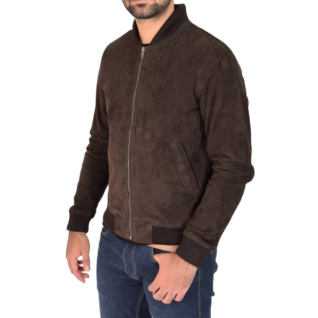 Mens Soft Goat Suede Bomber Varsity Baseball Jacket Blur Brown Front 2