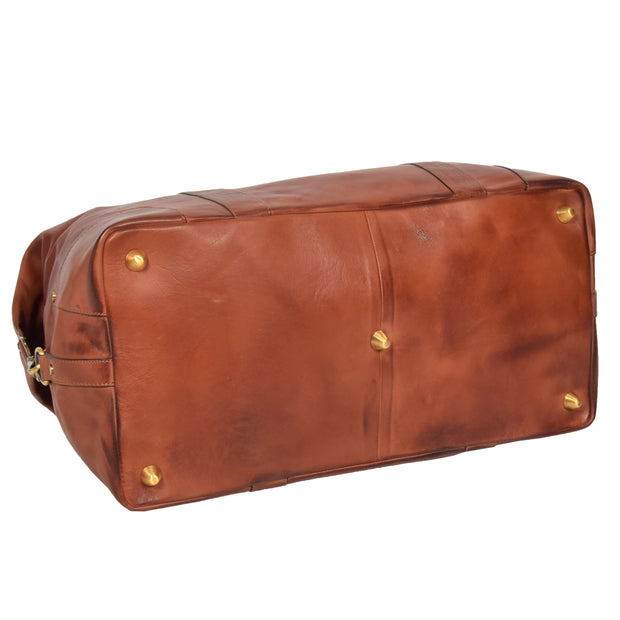 Genuine Leather Holdall Vintage Tan Travel Weekend Duffle Bag Rome Back Letdown