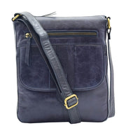 Womens Genuine Soft Vintage Leather Crossbody Messenger Bag Jill Navy 6